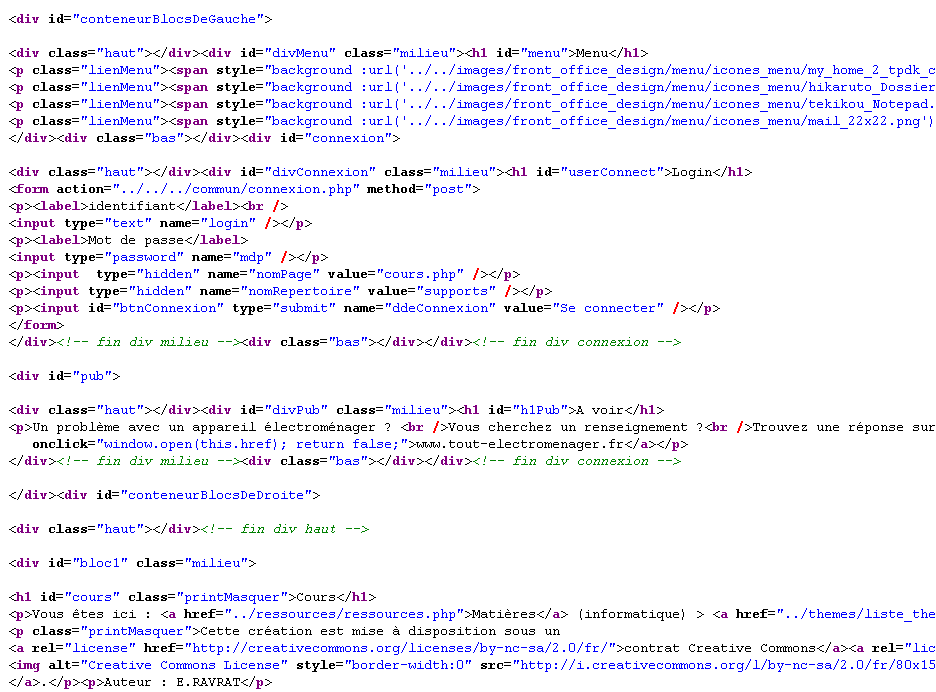 php exemple code