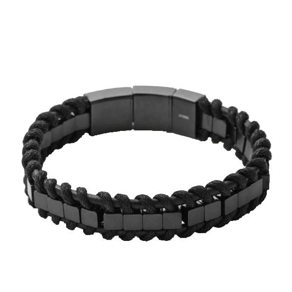 bracelet homme acier et noir