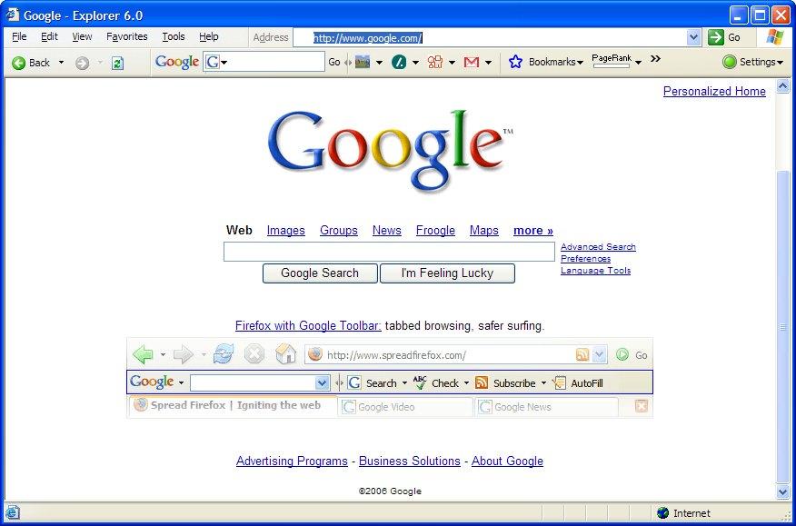 google internet explorer home page