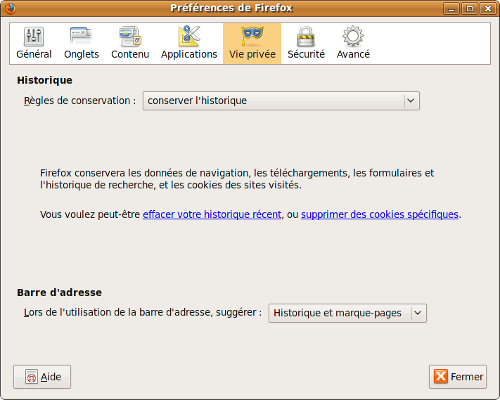 afficher les marques pages firefox